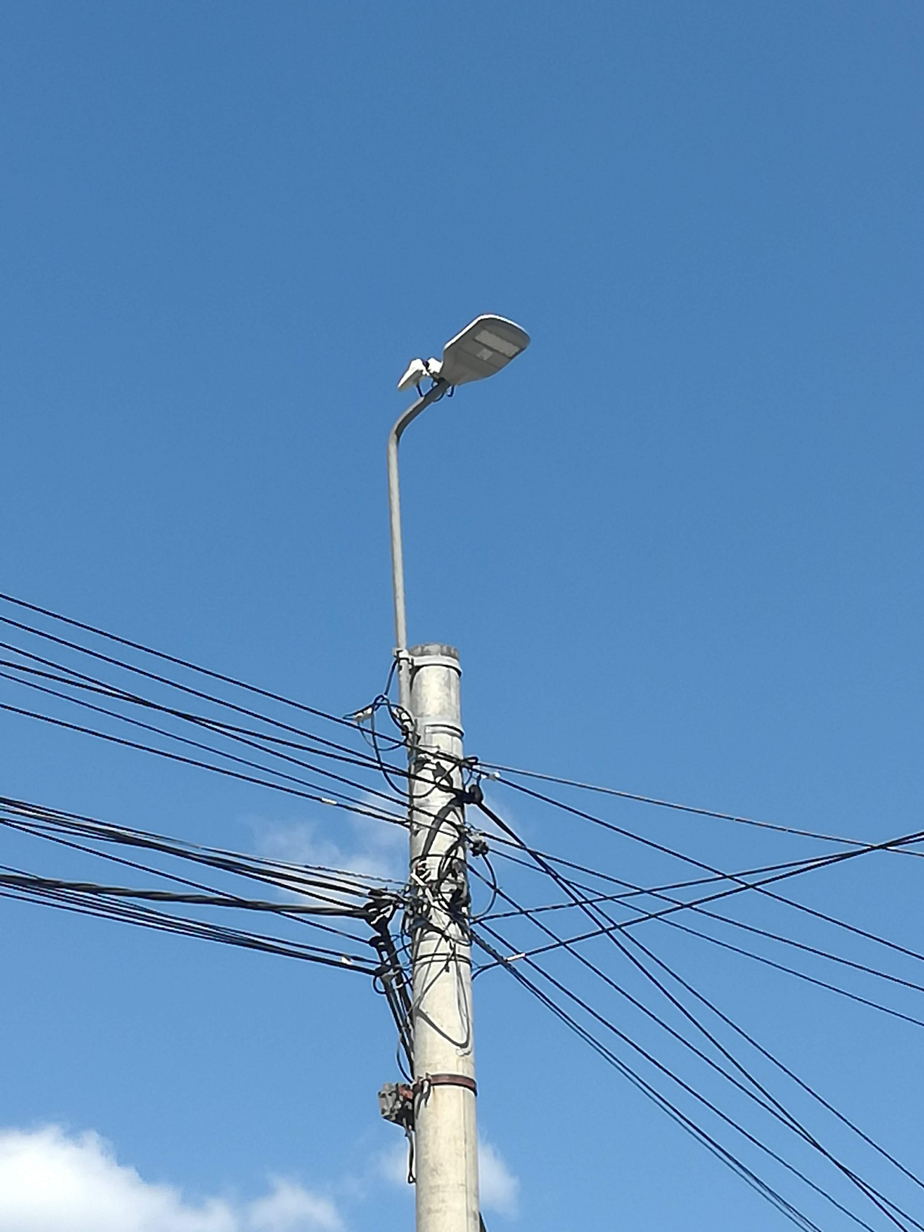 LED street light with LoRaWan module on top