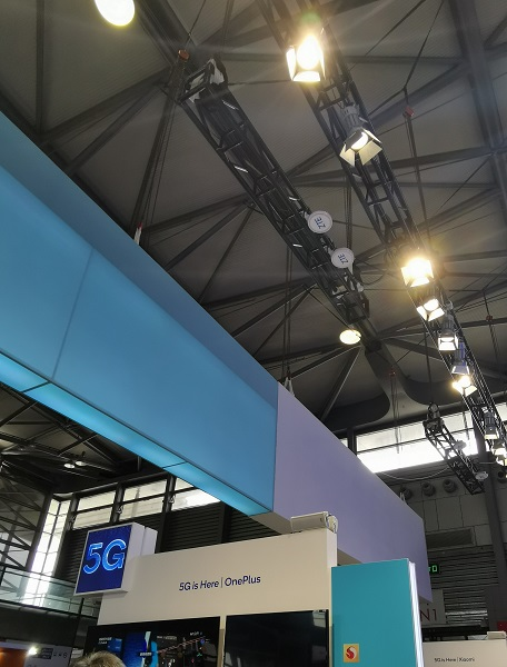 ZTE live 5G radio units above Qualcomm booth