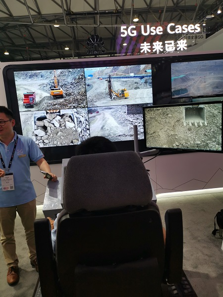 Remote machinery driving on Huawei booth